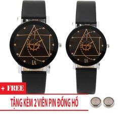 Đồng hồ cặp dây da Thạch Anh Tam Giác (Dây đen, Mặt Đen) + Tặng Kèm Pin
