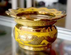 Lư hương thờ cúng rồng vàng 3D-có khay hứng tàn nhang cao 9cm