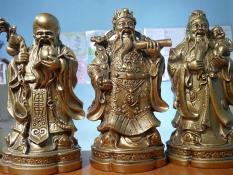 }Tượng Phúc Lộc Thọ phủ đồng Huế MIỄN SHIP ( size lớn 20 x 9 cm loại 1 , mỹ nghệ Huế bộ 3 tượng , màu vàng )