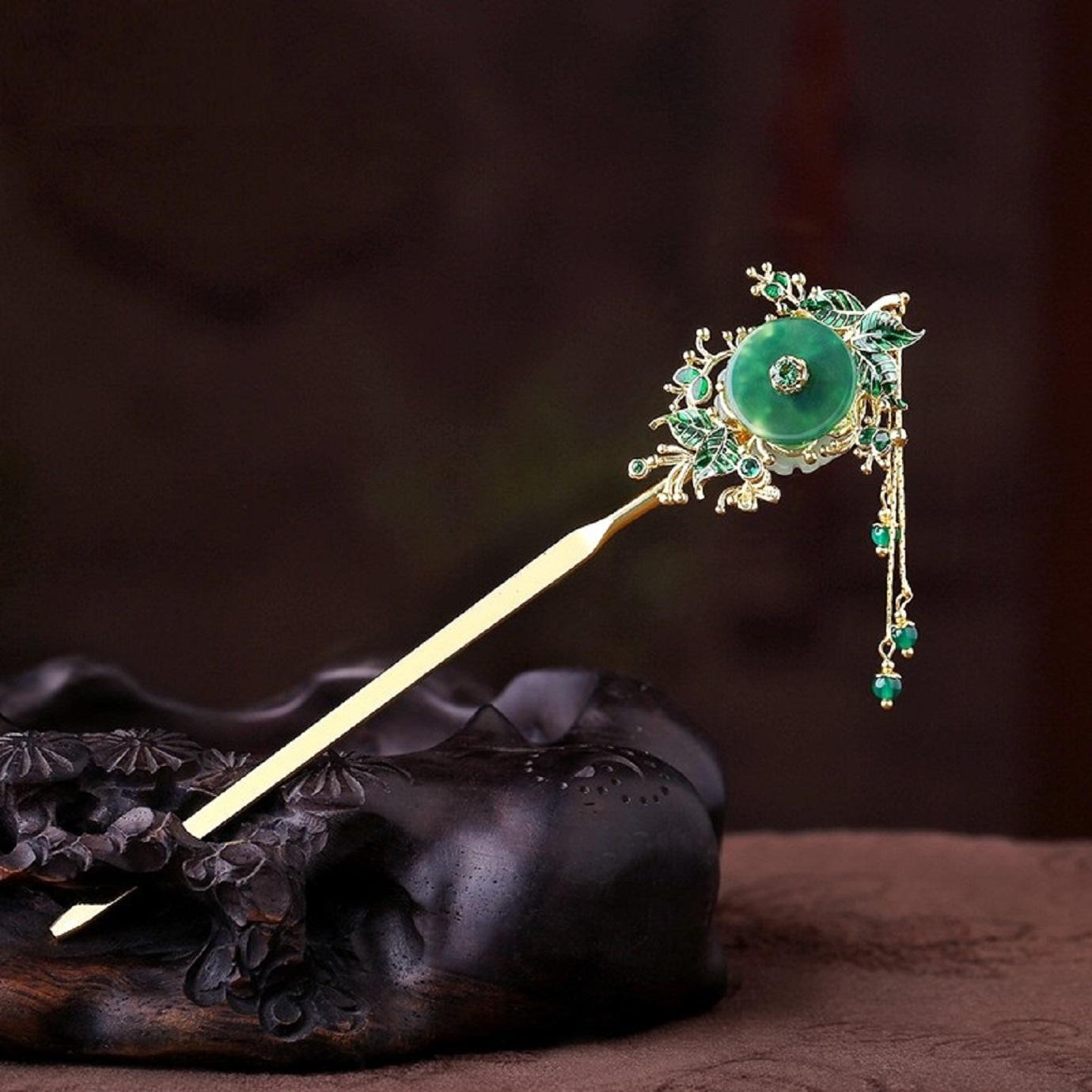 Trâm thân hợp kim đồng gắn đá mã não xanh lá, phong cách cổ điển, cổ trang
