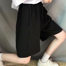 Quần short ống rộng CERA-Y lưng thun lửng ngố màu đen CRQ014, chất vải thun co dãn mặc mát, kiểu dáng unisex dễ phối