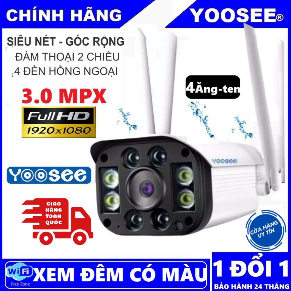 [CÓ MẦU BAN ĐÊM] Camera wifi 3.0 ngoài trời – trong nhà camera yoosee 4 Râu 3.0 Mpx full hd 1080p – hỗ trợ 4 đèn hồng ngoại và 4 đèn LED