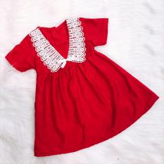 [HCM]Đầm xòe đỏ cotton phối ren đáng yêu cho bé 1-7 tuổi chất nhẹ mát họa tiết đơn giản nhẹ nhàng Baby-S – SD067