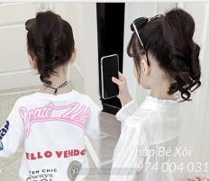 [3 màu] Tóc giả cột đuôi cho bé gái kiểu xoăn đuôi ngắn, tóc giả cho bé gái