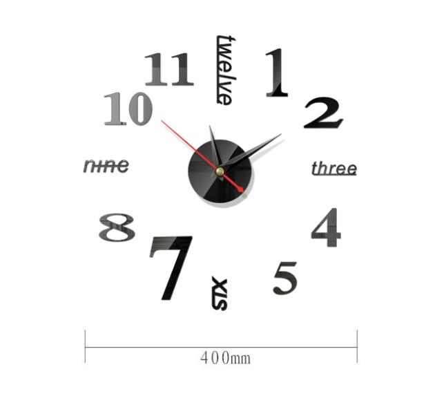Đồng hồ dán tường 3D, Đồng hồ dán tường kim trôi, đồng hồ dán tường số và chữ DH76