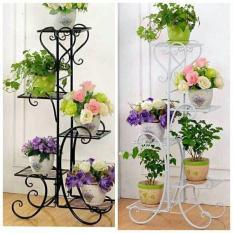 Kệ sắt để chậu hoa, cây cảnh 5 tầng hoa văn