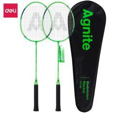 DELI Vợt cầu lông gồm 2 cây vợt + 1 bao đựng vợt Xanh WF2100