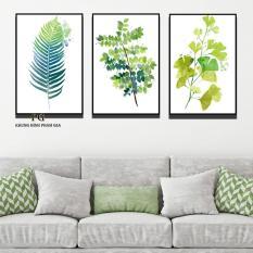 Bộ 3 tranh canvas lá xanh tươi mát trang trí phòng khách/phòng ăn/phòng ngủ kèm Khung Viền 3D Nổi Bật – Khung Hình Phạm Gia PG267
