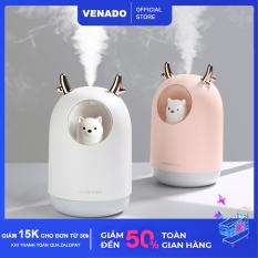 Máy phun sương tạo độ ẩm hình Gấu trong suốt 300ml – Venado có thể dùng trên ô tô hoặc ở nhà, tích hợp đèn led làm đèn ngủ