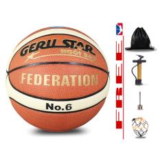 Banh bóng rổ da cho nữ Geru Star bản Federation- Size 6 – Tặng kèm Bơm tay + Balo rút + Kim bơm + Túi lưới