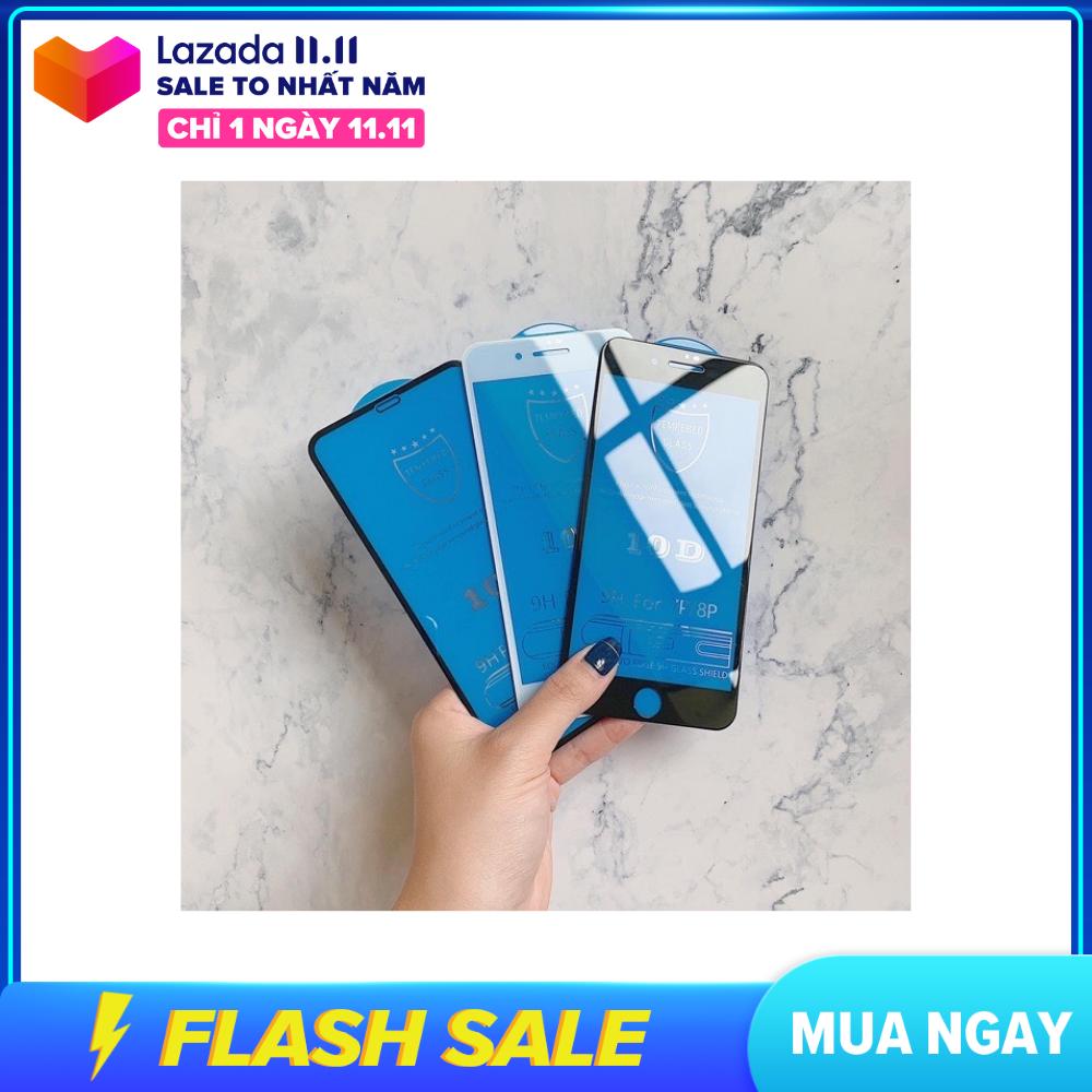 Kính cường lực 10D nền xanh full màn nguyên khối [ iphone 6 đến iphone 11 Pro Max ]