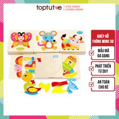 Tranh ghép gỗ cho bé toptutoe đồ chơi gỗ thông minh ghép hình montessori phát triển tư duy trí tuệ nhiều chủ đề