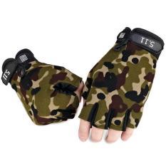 Găng tay phượt nam mẫu cụt ngón phủ hạt nhựa chống trơn – phong cách quân đội (Mẫu HOT)
