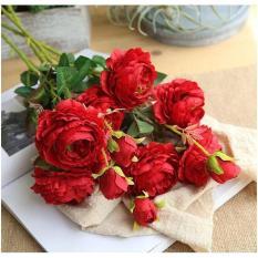 cành hoa mẫu đơn cao cấp cành 3 bông siêu đẹp trang trí phòng khách – Hoa lụa – Hoa giả trang trí nội thất, tiệc cưới, sự kiện