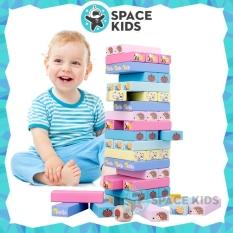 Đồ chơi rút gỗ 51 chi tiết kèm xúc xắc in hình con vật cho bé vui chơi (loại cao cấp) – Space Kids