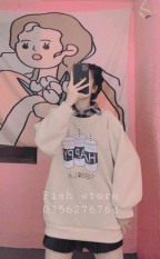 (Có Quà Tặng) Áo sweater nỉ happy có cổ kẻ (ảnh thật video tự chụp)