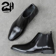 Giày nam Boots cổ lửng phối thun da bò SHOES 2H size 38-43, Đen 2H-53