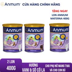 [GIẢM 40K + TẶNG BÁNH&TÃ ĐƠN 599K]Bộ 2 Sữa bột Anmum Materna hương Vani và Sô-cô-la 400g Tặng 1 Lon Anmum Materna Vani 400g