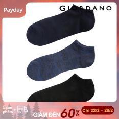 Sét 03 đôi Tất Nam chống trượt với các chữ cái tương phản và vòng lặp jacquard GIORDANO 01156016 FREESHIP