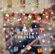 Decal dán tường Noel – Rèm kim tuyến sao tim Kết hợp Vớ sắc màu giáng sinh