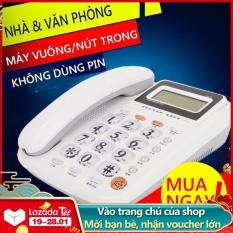 Điện thoại cố định điện thoại bàn màu trắng và đỏ, loa ngoài, 2 cổng nối POS và máy Fax
