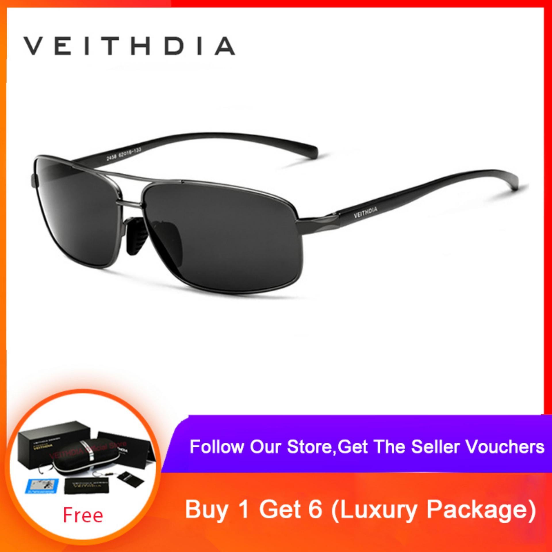 VEITHDIA Brand New Polarized Mens Sunglasses Aluminum Frame Sun Glasses Driving Eyewear Accessories For Men oculos de sol masculino 2458(Grey)...