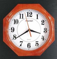 Đồng hồ treo tường tròn nhỏ hình lục giác – nhựa sơn giả gỗ – size 25cm