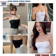 áo hai dây nữ -áo kiểu mới sợi bún đang rất hót có 2 mầu đen trắng kiểu áo croptop hót 2021 chất thun co giãn mạnh ,thời trang 1989