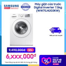 Máy giặt Samsung Cửa Trước Digital Inverter 7.5kg (WW75J42G3KW/SV) – Công nghệ giặt hơi nước – Tích hợp chế độ khóa trẻ em an toàn – Tiết kiệm năng lượng – Hàng phân phối chính hãng.