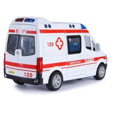 Xe ô tô cứu thương bằng kim loại đồ chơi trẻ em có âm thanh và đèn nháy