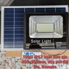 Đèn pha led Năng Lượng Mặt Trời công suất 100w kèm tấm pin rời có remote có cảm biến tự động dây nối