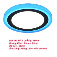 Đèn led nổi ốp trần 24w tròn 2 màu 3 chế độ