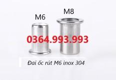 Gói 100 cái Đai ốc rút M6/Ecu rút M6/Ốc tán rút M6/Tán rút M6 INOX 304