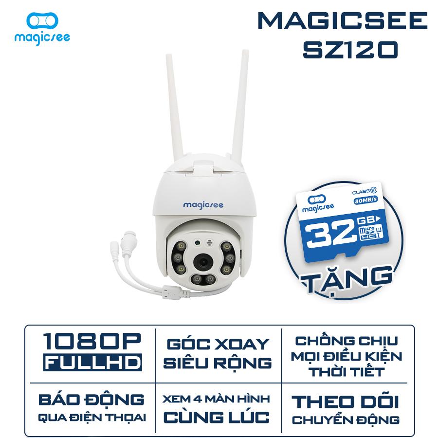 Camera giám sát an ninh ngoài trời xoay 360 Magicsee ZS120 - Full HD1080 - Chống nước - Hồng ngoại...