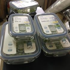 Hộp thủy tinh kháng khuẩn Nikko xuất Nhật Bản chữ nhật 370ml, 640ml, 1040ml, 1520ml dùng lò vi sóng và tủ đông lạnh