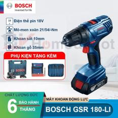 Máy khoan vặn vít dùng pin 18V Bosch GSR 180-LI + TẶNG ÁO MƯA BOSCH