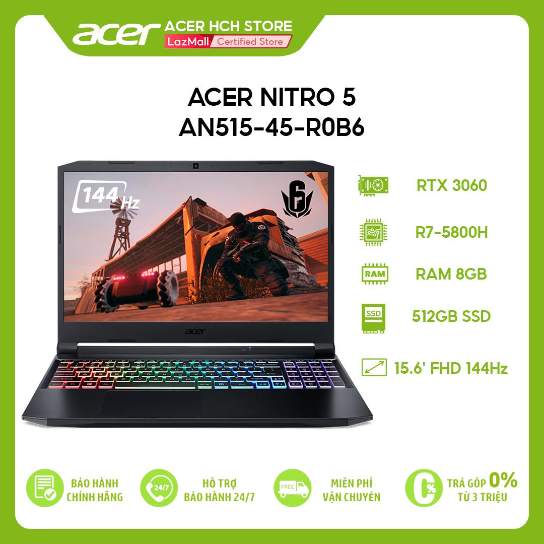 [Trả góp 0%]Laptop Acer Nitro 5 AN515-45-R0B6 (R7-5800H | 8GB | 512GB | VGA RTX 3060 6GB | 15.6 FHD 144Hz | Win 10)