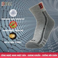 Tất nam cao cổ chống trơn vớ thể thao nam BRELI Nano kháng khuẩn chống hôi chân – BTF9002