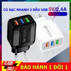 Củ sạc nhanh 3 cổng USB công nghệ sạc nhanh 2.5A phù hợp cho tất cả các dòng điện thoại iphone, sam sung, huawi, redmi….