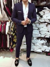 Combo Vest Xanh Than [ siêu tiết kiệm] tặng kèm sơ mi + cà vạt,Bộ Vest Nam Màu Xanh Than,