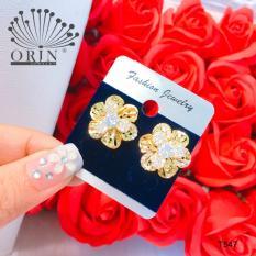 Bông tai thời trang nữ, bông tai hoa xoáy đính đá thiết kế cao cấp Orin T547