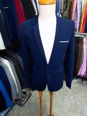 Bộ vest nam ôm body màu xanh đen sáng chất vải dày mịn co giãn