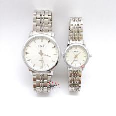 Cặp Đồng hồ đôi nam nữ HALEI dây kim loại thời thượng ( HL552 dây trắng mặt trắng ) – TẶNG 1 vòng tỳ hưu phong thuỷ