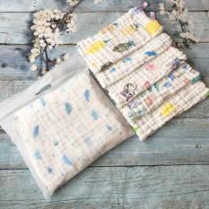 Set 5 khăn xô 6 lớp xuất Nhật, khăn mặt kích thước 30x30cm cho bé, khăn sữa nhăn, khăn ăn
