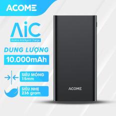 [BH 18 Tháng 1 đổi 1] Sạc dự phòng ACOME AP103 10000mAh thiết kế nhỏ gọn 2 cổng USB và 1 cổng Micro công suất đầu ra 10.5W – Hàng Chính Hãng