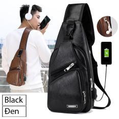 Túi đeo chéo nam da cao cấp CLASSIC có cổng sạc USB và lỗ tai nghe thời trang