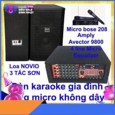 Dàn karaoke gia đình Dàn karaoke gia đình hay, Dàn karaoke giá rẻ CẶP LOA NOVIO 3 TẤC SƠN VÀ AMPLY KARAOKE AVECTOR 9800 TẶNG 2 MICRO KHÔNG DÂY