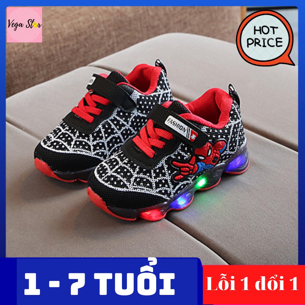 Giày thể thao nam cho bé trai từ 1 đến 7 tuổi có đèn led / Giày spider man – người nhện / giày nam, giày sneaker nam êm chân cho bé trai