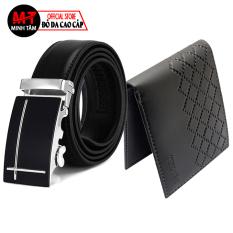 Thắt lưng nam , dây nịt nam Minh Tâm da cao cấp , khóa kim loại thời trang nam MT0604S , tặng kèm 1 ví nam , đen