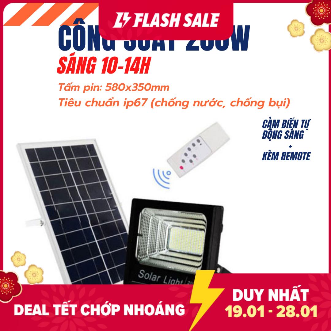 Đèn pha led Năng Lượng Mặt Trời công suất 200w kèm tấm pin rời có remote có cảm biến tự động dây nối 5m, sáng 10-14h, (Bảo hành 12 tháng)